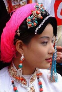 A Tibetan woman in traditional costume